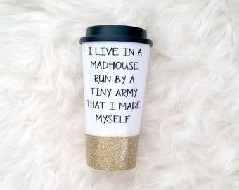 tumbler, cute tumblers, glitter tumbler, mom, mom mug, mom gift, gift for mom, funny coffee mug, glitter dipped mug, coffee mug, mug for mom