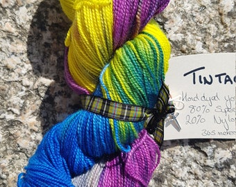 Hand dyed sock yarn 100g. Tintagel