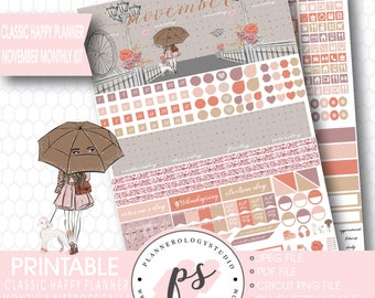 Rose Fall November 2017 Monthly View Kit Printable Planner Stickers (for Classic Happy Planner) | JPG/PDF/Silhouette Compatible Cut File