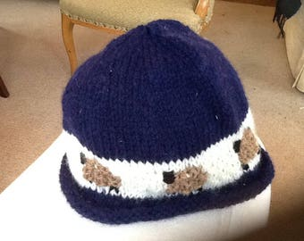 Handknitted navy hat with sheep border age 1-5