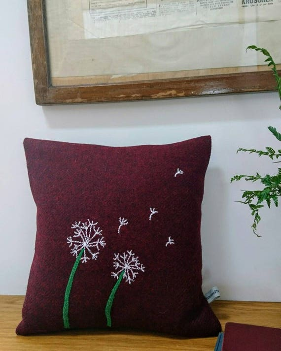Hand crafted Harris Tweed dandelions Design cushion cover
