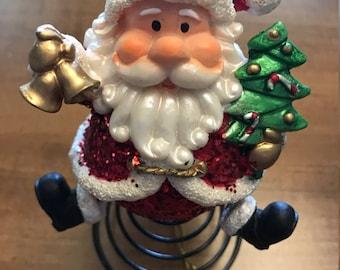 Vintage Christmas Tree Topper- Santa