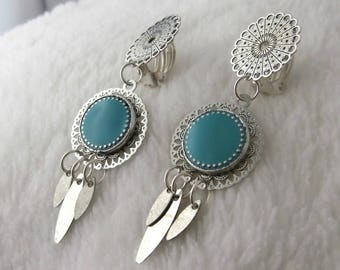 Earring clip Arizona Turquoise (made in France)