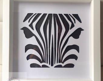 20cm x 20cm White Box Frame with Zebra Cut Out