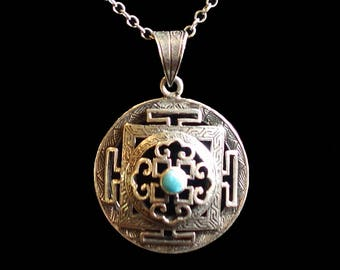 Turqouise Mandala Pendant, Silver