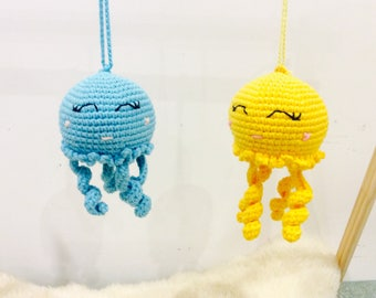 Octopus Pram Toy, Stroller toy, Octopus Pram toy, Nursery Gift, Crochet Octopus Crib Toy, Mobile Door Hanger