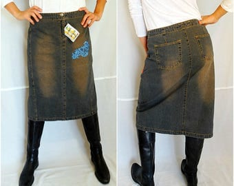 Denim midi Skirt blue Jean High Pencil Skirt 90s acid wash Grunge Retro Vintage Long Hipster medium NEW deadstock