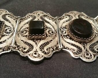Russian Style Filigree Obsidian Bracelet