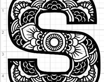 Zentangle alphabet etsy mandala alphabet letter s design svg pdf eps dxf studio 3 cut files altavistaventures Images