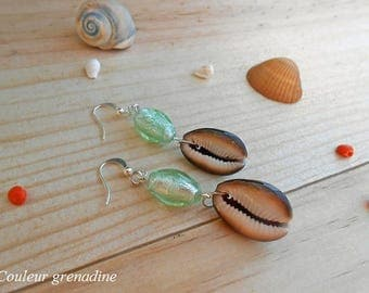 Earrings glass beads and shell, gift idea party big day, Easter