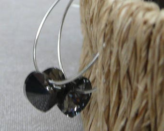 "Medium hoop earrings Silver ""Gray heart"""