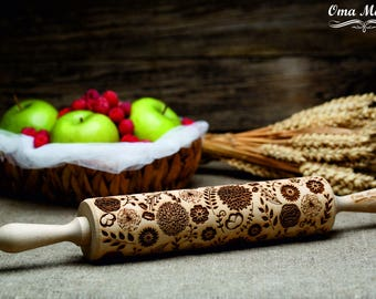 Flowers Rolling pin Embossed rolling pin Engraved rolling pin Rolling pins Embossing rolling Flowers rolling Folk Folk  rolling pin