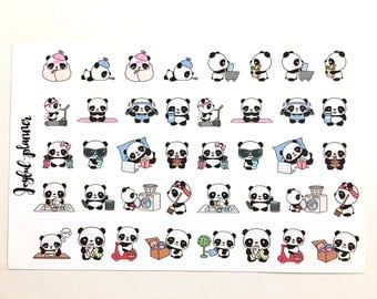 Pandas doing things Kawaii stickers for Erin Condren Life Planner, ECLP, or MAMBI Happy Planner or other planners