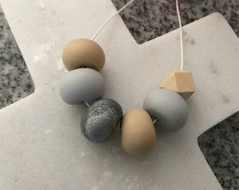 Handmade Polymer Clay Bead Necklace - Sand, Light Grey and Glitter Grey