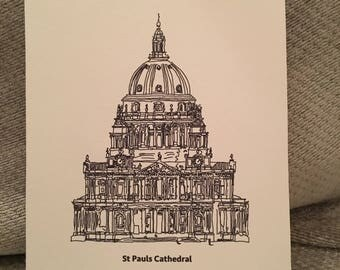St Pauls Cathedral Print- London- Illustration- Gifts For Her- Gifts For Him- Landmarks-Black And White