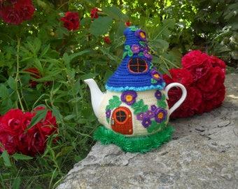 Warmer for teapot, fairytale warmer, fairy house, Knitted tea cozy, Fairy house teapot cosy, Tea cozy