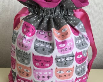 Knitters /Crafters Project Bag- Sassy Cats- colourway two
