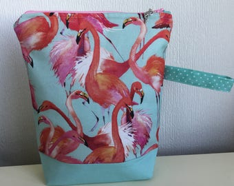 Zippered Project Bag - Pretty Flamingo - colourway two