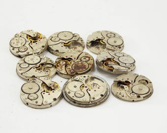 Pocket Watch supply assemblage jewellery clock watch pieces mechanical movements jewelry making steampunk diy rustic findings mens jewelry
