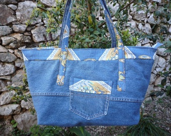 Jeans and linen tote bag