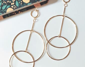 Double circle clip on earrings minimalist jewelry-