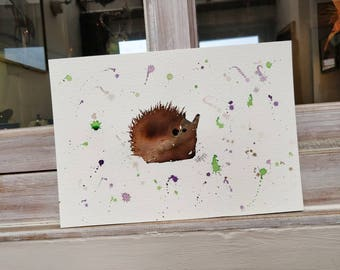 A4 Autumn the Hedgehog. Original watercolour painting.