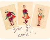 """Lot de 3 cartes """"super-mamy"""" pour la fête des grand-mères!"""