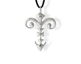 Necklace with Cross pendant in sterling silver 925 from tribal ethnic style - Cross pendant made in solid silver