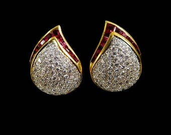 DIAMOND RUBY EARRINGS 2142mv167