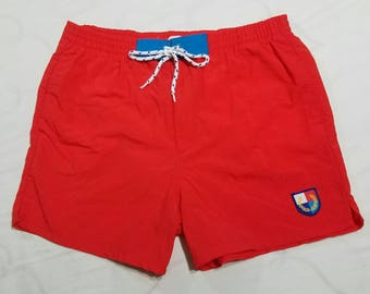 Vtg Style Fred Perry Sportswear Swim Trunks | Red Vintage Retro 80s 90s Bathing Suit | Men's Large | TUFF