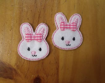 CUT Pair of machine embroidered felties, felt appliques  Pink Bunny Rabbit for Hair Clips, Hair Bows, Scrapbooking, Card Making, Badge Reels