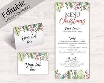 Menu Christmas template, Editable Menu, Editable Tent Card, Place Card, Buffet Card Template, Christmas Template, Christmas Decoration Print