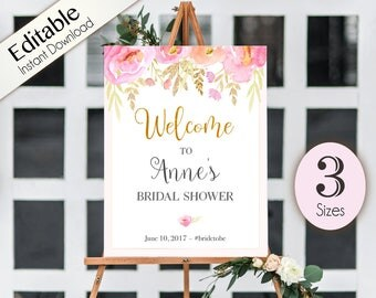 Welcome Sign Bridal Shower Template, Editable PDF, ANY EVENT, Printable, Instant Download, Bridal Baby Wedding Baptism Birthday Shower Sign
