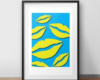yellow lips: inspired by artist, pop art, instant download, printable poster, home decor, vector poster, gift idea, digital download, yellow