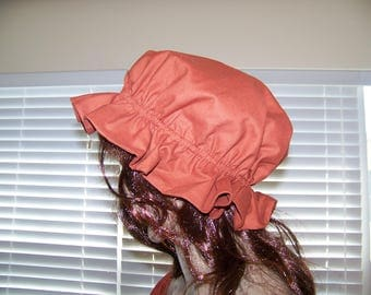 ladies womens mop hat costume civil war reenactment hat rust color