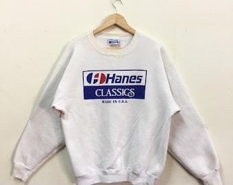 Rare!!! Vintage Hanes Classics Made in Usa Sweatshirt Big Logo White Colour