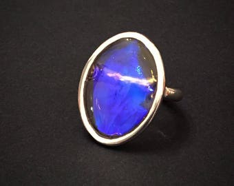 925 Silver ring and resin opalescent t 56.