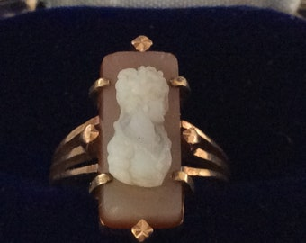 9K rose gold shell cameo ring size 4 3/4 # G 110