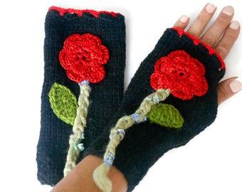 Floral Gloves, Knitted Gloves, Black Gloves, handmade Gloves, crochet Gloves, Women Accessories, Winter Accessories, Birthday Gift
