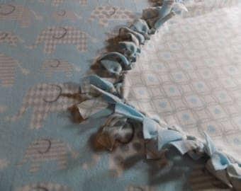 Elephant Hand Tied Fleece Blanket