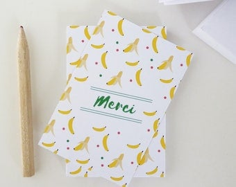 Set of 18 illustrated banana thank you cards