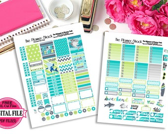 Shark Week // Erin Condren // Printable Planner Stickers // Planner Stickers // Shark // Shark Attack // Shark Week Weekly