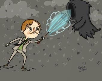 Remus Lupin vs Dementor Harry Potter Fan Art Illustration