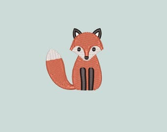 Cute little fox machine embroidery design. Mini filled embroidery. 3 sizes (4x4 hoop). Instant download