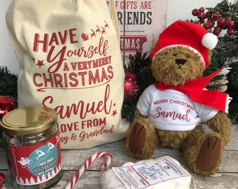 Christmas Teddy Gift Set with Hot Chocolate Personalised