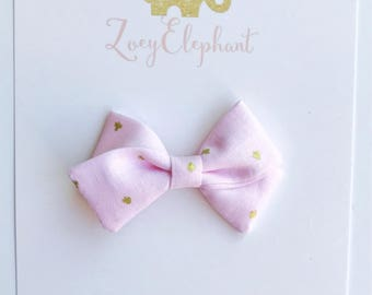 Mini Zoey Bow in Pink Ace of Spades-Pink Bow, Pigtail Set, Pigtail Bows, Pink Fabric Bow, Baby Girl Headband, Toddler Hair Clip, Baby Gift