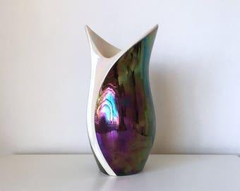 Mid Century 50s 60s Verceram Iridescent ceramic vase 6200 Made in France