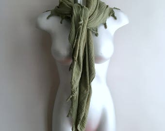 Square cotton hand dyed olive green scarf