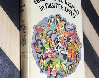 Around the World in Eighty Days by Jules Verne (Hardcover) 1964 vintage book