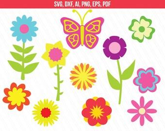 Flower SVG files,  Flower clipart , butterfly clipart , flower svg , digital download , spring svg - Ai, Svg, Dxf, Eps, Pdf, Png